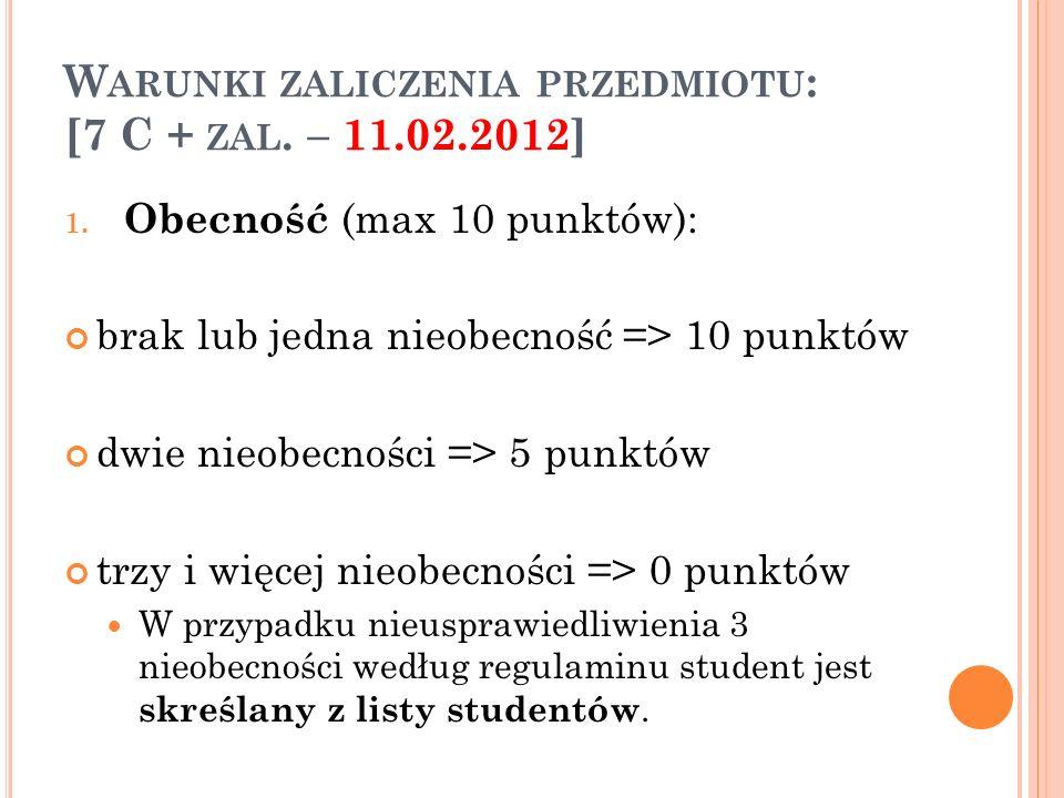 Warunki zaliczenia przedmiotu: [7 C + zal. – 11.02.2012]